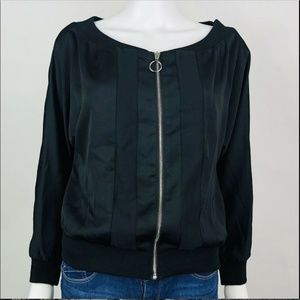 Bar III Bomber Jacket Deep Black Off The Shoulder